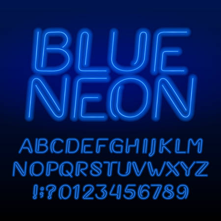 Neon tube alphabet font. Neon color oblique letters and numbers. Retro vector typeface for your design.