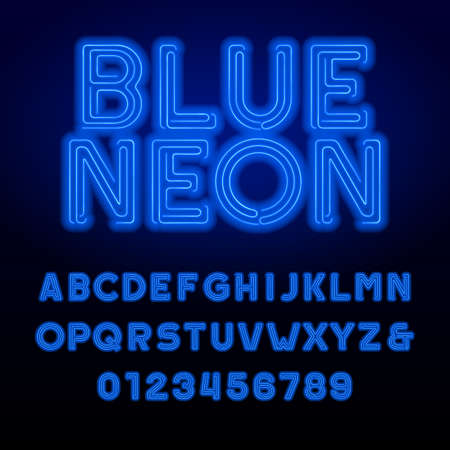 Blue neon tube alphabet font. Neon color bold letters and numbers. Retro vector typeface for your design.