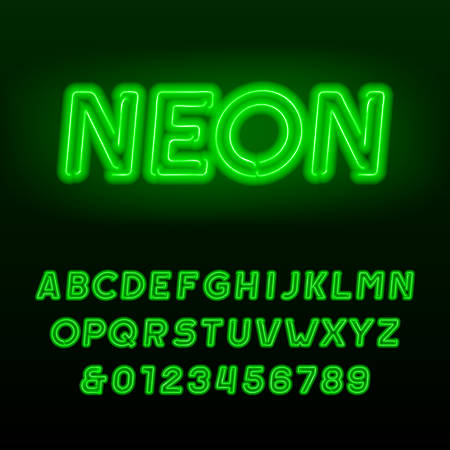 Green neon tube alphabet font. Neon color oblique letters and numbers. Retro vector typography for your design. Stock Illustratie