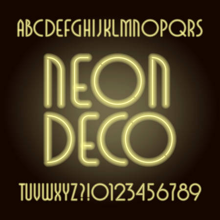 Neon tube art deco alphabet font. Neon color letters and numbers. Retro vector typeface for your design. Stock Illustratie