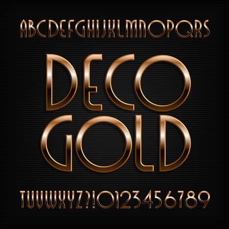 Golden art deco alphabet font. Gold effect letters, numbers and symbols. Stock vector typeface. 向量圖像