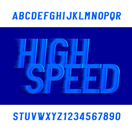 High speed alphabet font. Wind effect type letters and numbers. Stock vector typeface. Vettoriali