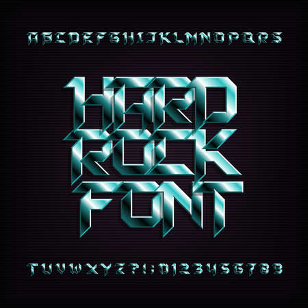 Hard rock alphabet font. Metal effect beveled letters, numbers and symbols. Stock vector typeface for your design. 일러스트