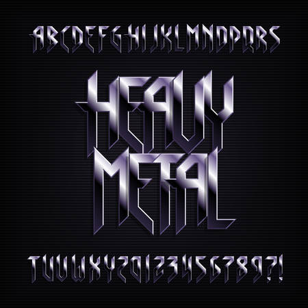 Heavy metal alphabet font. Metal effect shiny letters, numbers and symbols. Stock vector typeface for your design.