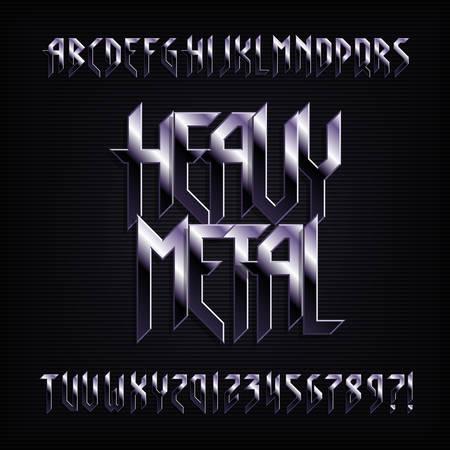 Fuente del alfabeto de heavy metal. Efecto metálico letras, números y símbolos brillantes. Tipografía vectorial de stock para su diseño.