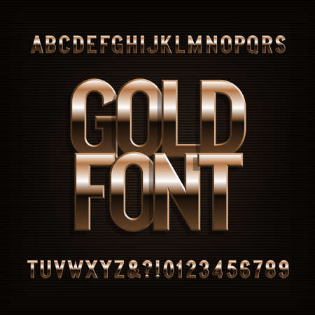 Beveled gold alphabet font. Golden color letters, numbers and symbols. Stock vector typeface.