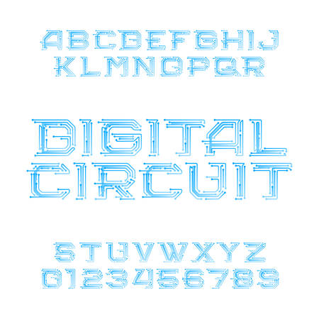 Digital circuit board alphabet font. Digital hi-tech style letters and numbers. Stock vector typeface   for your design. 向量圖像