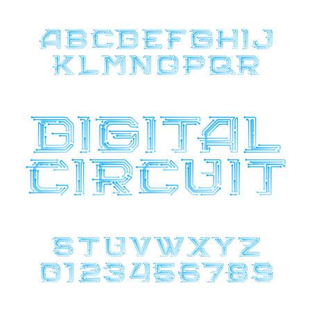 Police de l'alphabet de la carte de circuit numérique. Lettres et chiffres de style numérique de haute technologie. Police de caractères vectorielle stock pour votre conception. Vecteurs