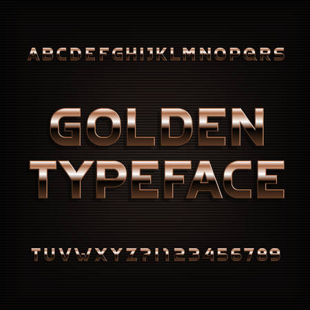 Beveled golden alphabet font. Metal color letters, numbers and symbols. Stock vector typography.