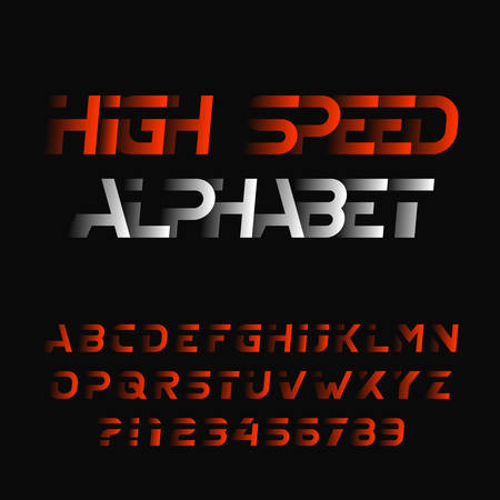 High speed alphabet font. Modern oblique type letters and numbers. Stock vector typeface.