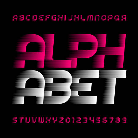 Abstract alphabet font. Speed ??effect type letters and numbers. Stock vector typeface.