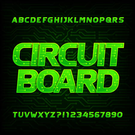 Circuit board font. Vector Alphabet. Digital hi-tech style letters and numbers. Dark green electronic background.