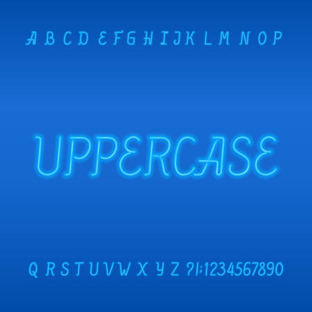Neon tube alphabet font. Neon color uppercase letters, numbers and symbols. Stock vector typeface. Part 1 of 2.