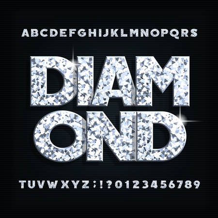Diamond crystal alphabet font. Ornate shiny letters, numbers and symbols. Stock vector typography for your design.
