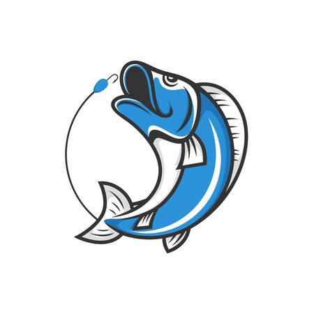 Fishing club logo. Jumping fish with bait and hook. Stock vector emblem. Illustration