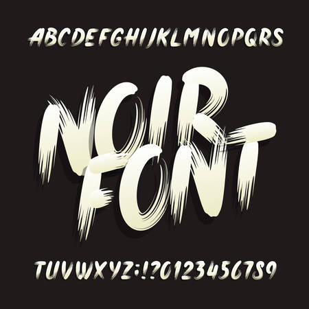 Noir alphabet font. Uppercase brushstroke letters and numbers. Stock vector typography.