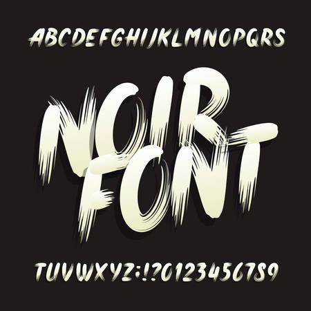 Police de l'alphabet noir. Lettres et chiffres en majuscules. Typographie de vecteur stock.