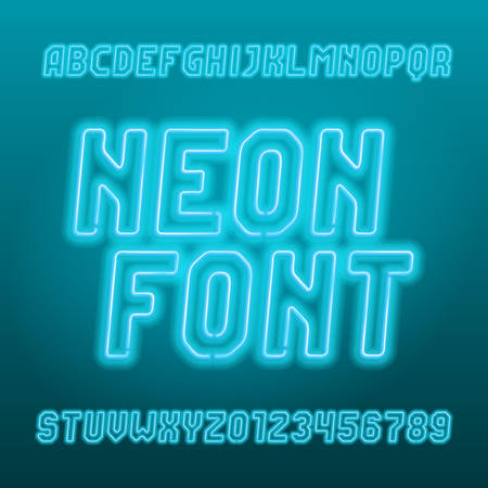 Light blue neon tube alphabet font. Neon color oblique letters, numbers and symbols. Stock vector typeset for your typography design. Illustration