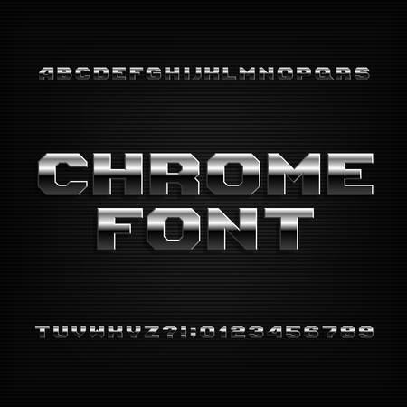 Beveled chrome alphabet font. Metallic effect shiny letters, symbols and numbers. Stock vector typeface for your design.