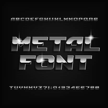 Abgeschrägte Metallalphabetschrift. Glänzende Buchstaben und Zahlen mit Chromeffekt. Stock Vektorsatz für Ihr Design.