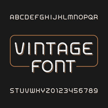 Messy vintage typeface. Retro alphabet font. Type letters and numbers. Stock vector typeface for your typography design.