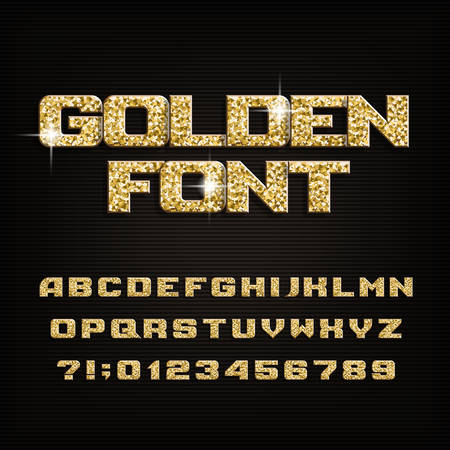Golden alphabet font. Metal glitter shiny letters, numbers and symbols. Stock vector typeface.