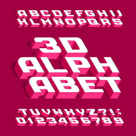 3D alphabet font. Three-dimensional effect letters, numbers and symbols with shadow. Stock vector typeface for your design. Illustration