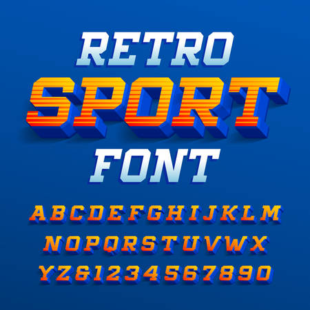 Retro sport alphabet font. Three-dimensional effect letters and numbers with shadow. Stock vector typeface for your design.
