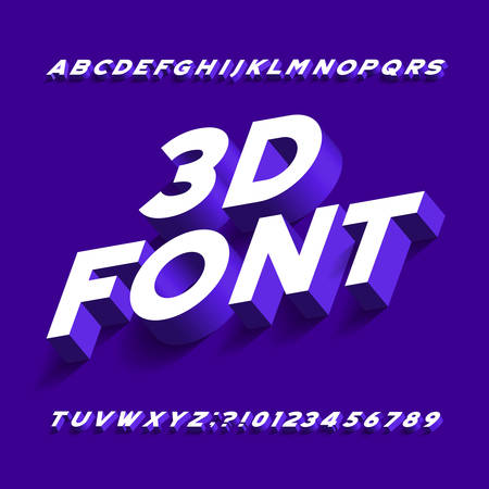 3D alphabet font. Three-dimensional effect sans serif letters, numbers and symbols with shadow. Stock vector typography for your design. Illustration
