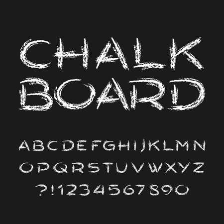 Chalk board alphabet font. Hand drawn grunge letters, numbers and symbols. Stock vector typeface. Foto de archivo - 109316610