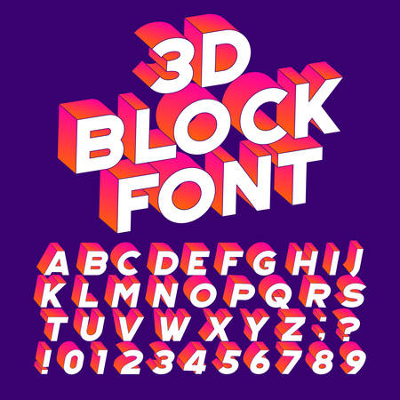 3D block alphabet font. Three-dimensional effect letters, numbers and symbols. Stock vector typography for your design. Иллюстрация