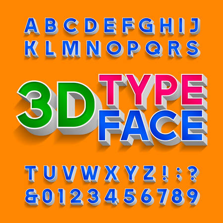 3D alphabet font. Three-dimensional typescript. Letters, numbers and symbols with shadow. Stock vector typography for your design. Illustration