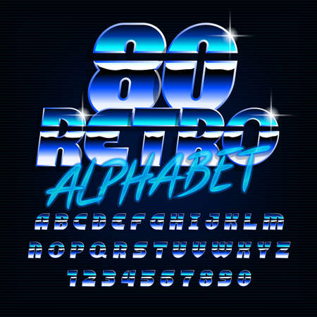 80s retro alphabet font. Uppercase shiny letters and numbers in blue colors. Stock vector typeface for your design in 80s style.