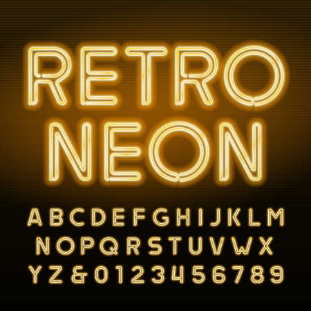 Retro neon alphabet. Yellow neon tube letters and numbers. Vintage signboard vector font.