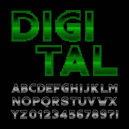 Digital alphabet font. 80s retro display pixel letters and numbers. Stock vector typeface for your design.