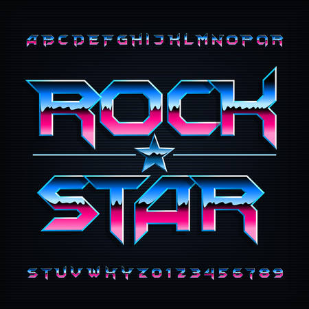 Rock star alphabet font. Metallic beveled letters and numbers. Stock vector typescript for your design.