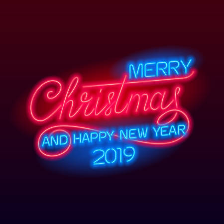 Merry Christmas and Happy New Year 2019 lettering. Holiday vector glowing neon sign. Xmas card. Illustration