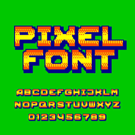 Pixel alphabet font. Digital gradient letters and numbers. 80s retro arcade video game typescript.