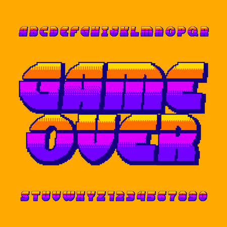 Game over alphabet font. Pixel gradient letters and numbers. 80s retro arcade video game typescript.