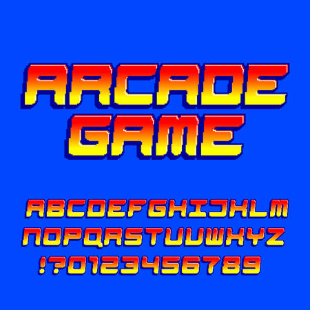 Arcade computer game alphabet font. Pixel gradient oblique letters and numbers. 80s retro video game typescript.