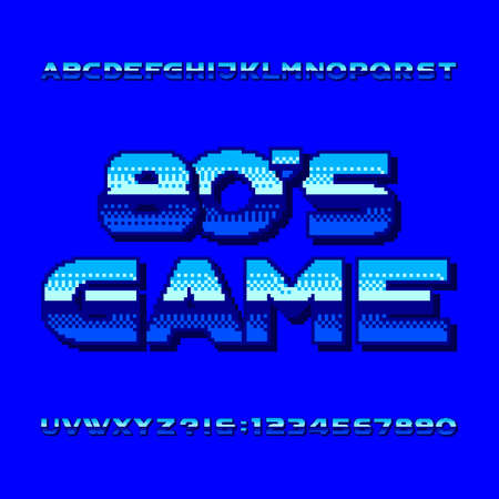 80s game alphabet font. Pixel gradient letters and numbers. Retro arcade video game typescript.