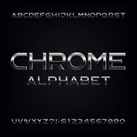 Chrome-Alphabet-Schriftart. Buchstaben und Zahlen mit Metallic-Effekt. Vektorschrift auf Lager für Ihr Design.