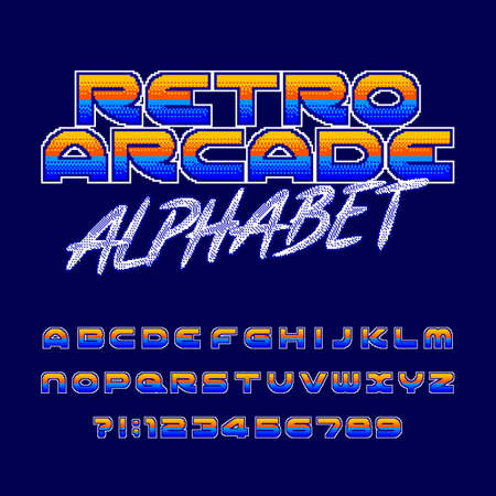 Retro arcade alphabet font. Pixel gradient letters and numbers. 80s video game typography. Çizim