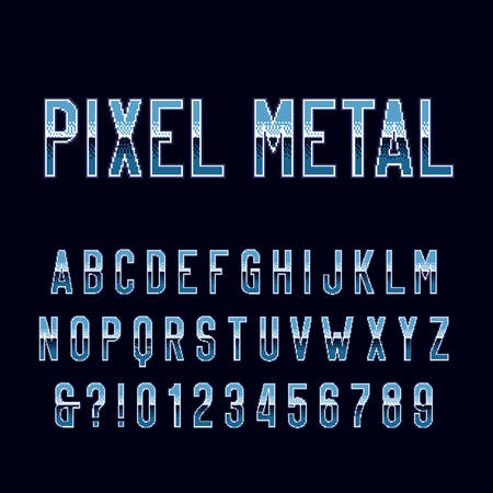 Retro arcade game alphabet font. Pixel metal gradient letters and numbers. 80s video game typography. Çizim