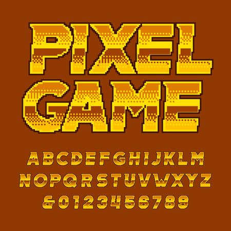 Retro arcade alphabet font. Pixel golden letters and numbers. 80s video game typography. Çizim