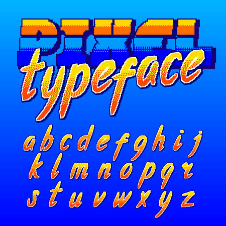 Pixel typeface. Retro arcade game alphabet font. Lowercase script letters. 80s video game typography.
