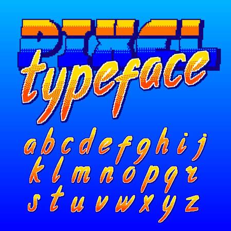 Pixel typeface. Retro arcade game alphabet font. Lowercase script letters. 80s video game typography.