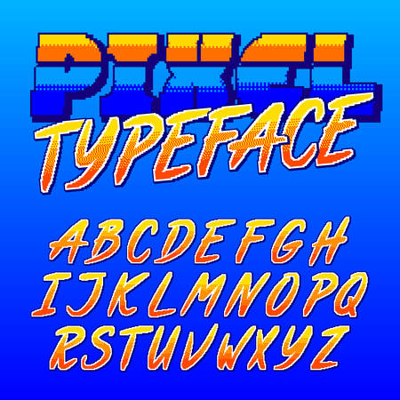 Pixel typeface. Retro arcade game alphabet font. Uppercase script letters. 80s video game typography. Çizim