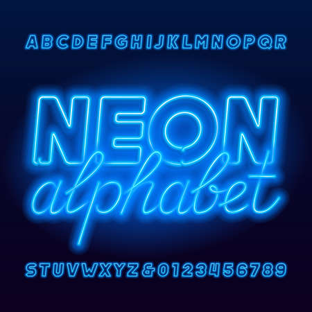 Neon tube alphabet font. Neon color uppercase bold letters and numbers. Stock vector typescript for your design.