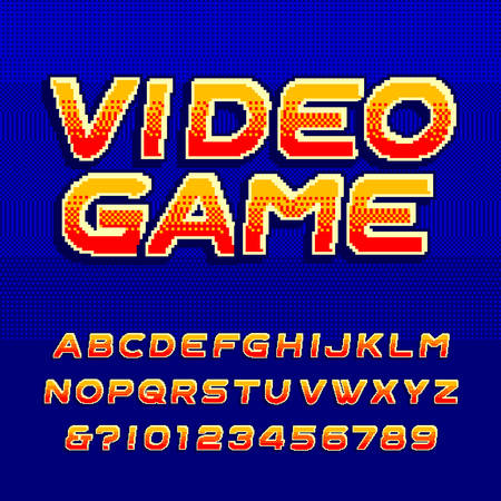 Video game alphabet font. Digital gradient uppercase letters. Pixel background. 80s retro arcade game typeface. Çizim
